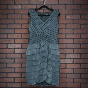 ADRIANNA PAPELL Tier Ruffle Cocktail Party Dress